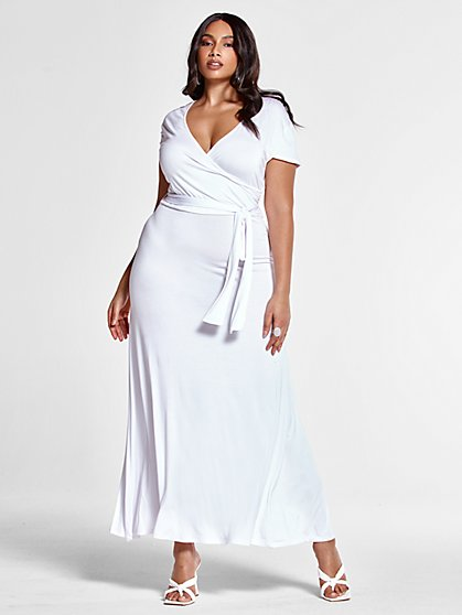 Plus Size Grace White Faux Wrap Maxi Dress - Fashion To Figure