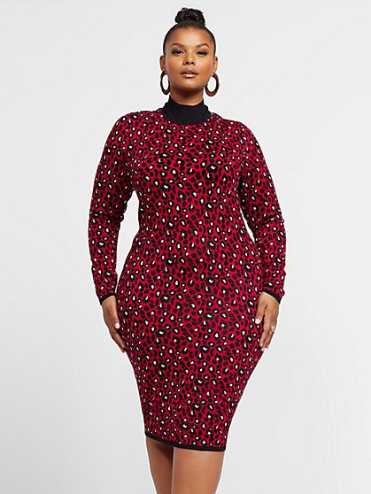 Plus Size Graciela Animal Print Sweater Dress - Fashion To Figure