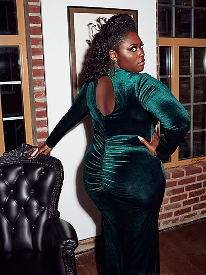 Plus Size Green Velvet Gown - Fashion To Figure