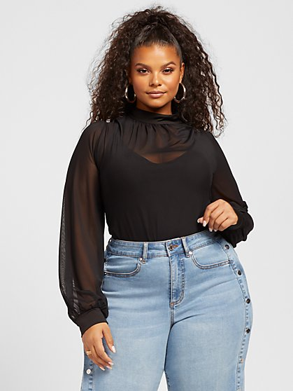 Plus Size Greta Mesh Bodysuit - Fashion To Figure
