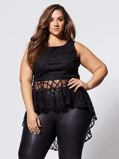 Plus Size Grid Mesh Peplum Top - Fashion To Figure