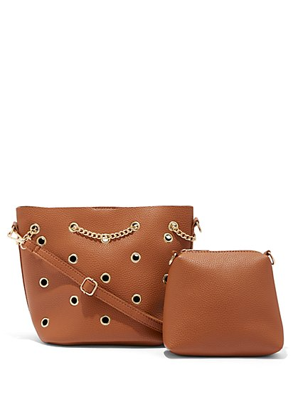 Plus Size Grommet Detail Bucket Bag - Fashion To Figure