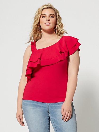 Plus Size Gypsy One Shoulder Ruffle Top - Fashion To Figure