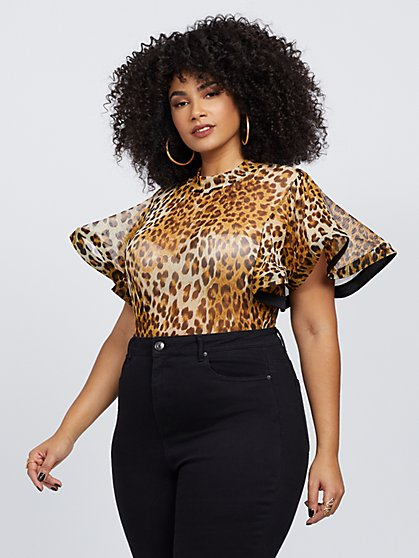 Plus Size Hadlee Leopard Print Mesh Bodysuit - Fashion To Figure