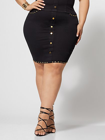 Plus Size Haidee Button-Front Denim Pencil Skirt - Fashion To Figure