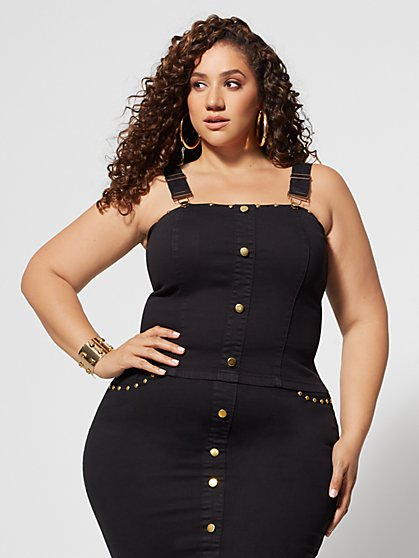 Plus Size Haidee Button Stud Tank Top - Fashion To Figure