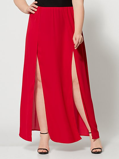 Plus Size Haimi Red Double Slit Maxi Skirt - Fashion To Figure