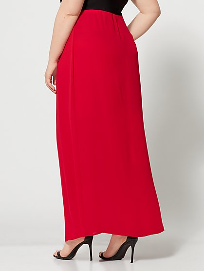 e3959a29d5 ... Plus Size Haimi Red Double Slit Maxi Skirt - Fashion To Figure