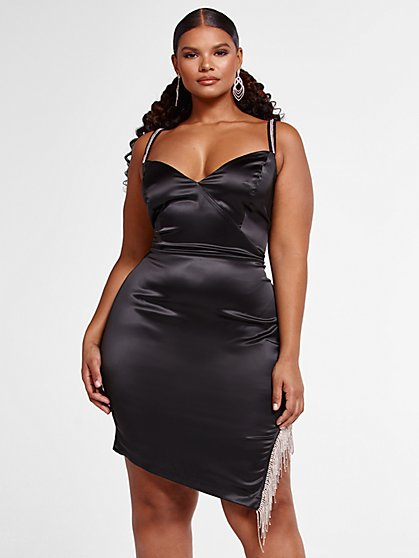 Plus Size Hallie Rhinestone Trim Dress - Fashion To Figure