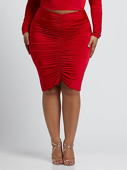 Plus Size Hallie Ruched Pencil Skirt - Fashion To Figure