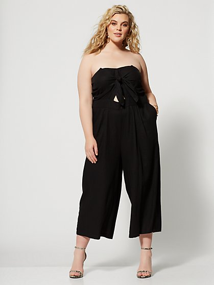 Plus Size Halona Bow-Front Jumpsuit - Fashion To Figure