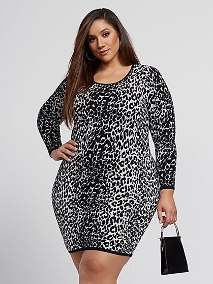 Plus Size Hannah Leopard Print Sweater Dress - Fashion To Figure
