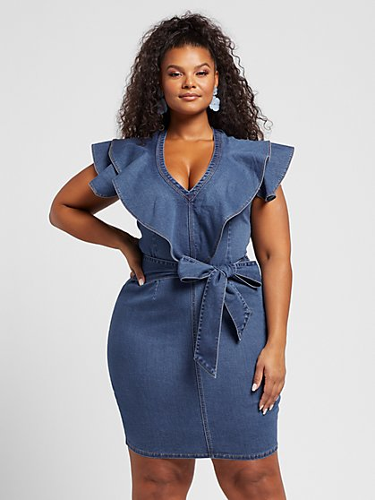 Plus Size Hannah Ruffle Sleeve Denim Dress - Fashion To Figure