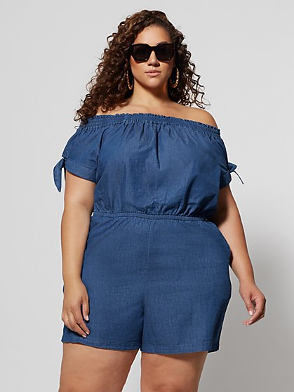 dc7e6c1532e Plus Size Hanne Off Shoulder Denim Romper - Fashion To Figure ...