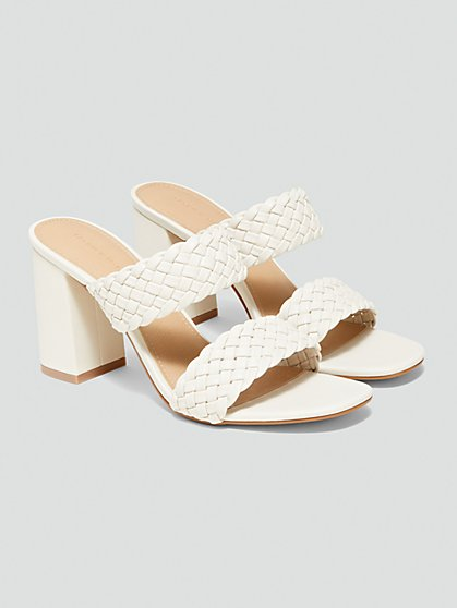 Plus Size Harlow Braided Slide Sandals with Block Heel - Fashion To Figure
