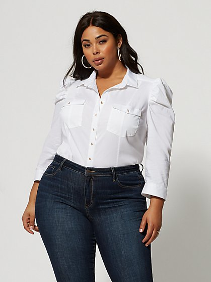 Plus Size Harlow White Puff Sleeve Button-Up Top - Fashion To Figure