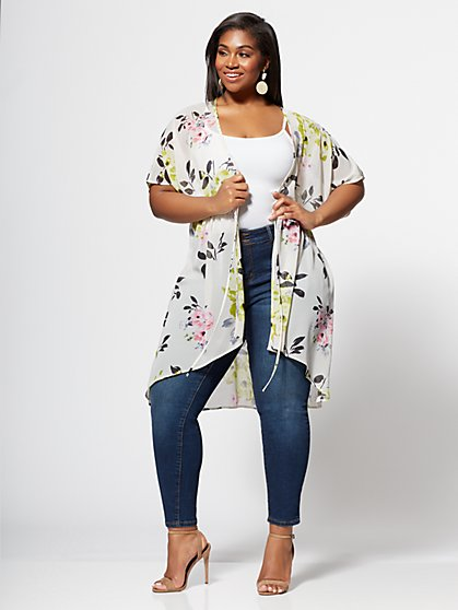 Plus Size Harmony Floral Print Duster - Fashion To Figure