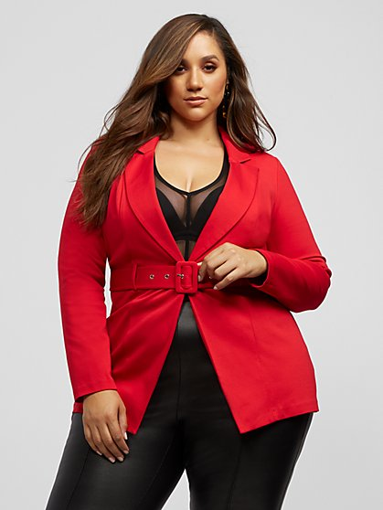 Plus Size Harmony Long Belted Blazer - Fashion To Figure