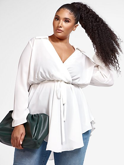 Plus Size Harper Asymmetrical Hem Peplum Top - Fashion To Figure
