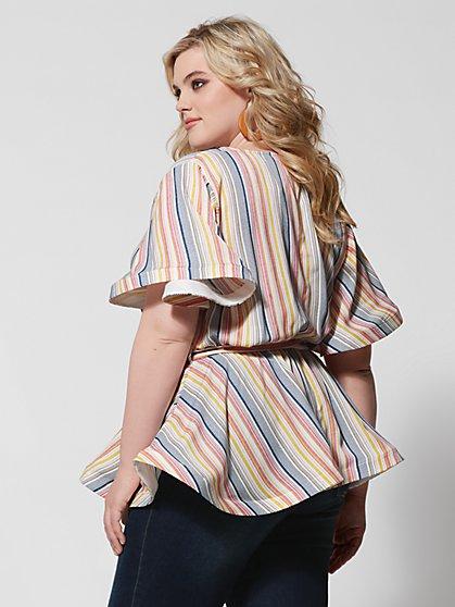 d8ad36897f5 ... Plus Size Harper Stripe Peplum Tie Top - Fashion To Figure ...