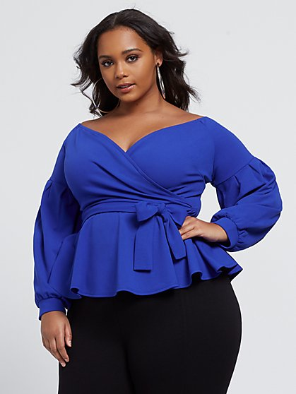 Plus Size Hazel Off Shoulder Peplum Top - Fashion To Figure