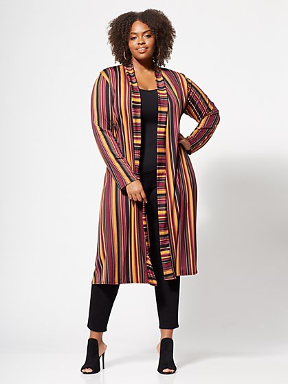 Plus Size Hazel Striped Duster - Fashion To Figure