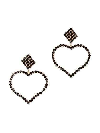 Plus Size Heart Rhinestone Earrings - Fashion To Figure