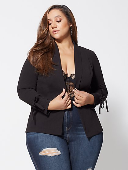 Plus Size Heather Tie-Sleeve Blazer - Fashion To Figure