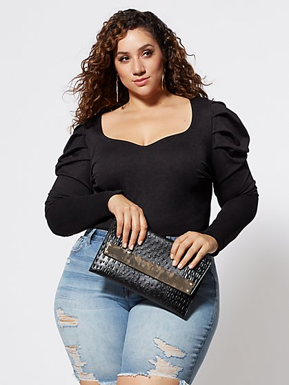 Plus Size Heidi Puff Shoulder Top - Fashion To Figure