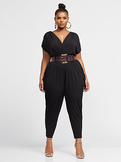 Plus Size Helena Drape Detail Jumpsuit - Fashion To Figure