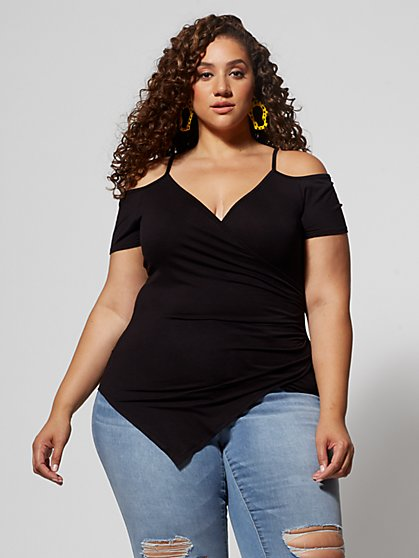 Plus Size Heloise Cold Shoulder Wrap Tee - Fashion To Figure