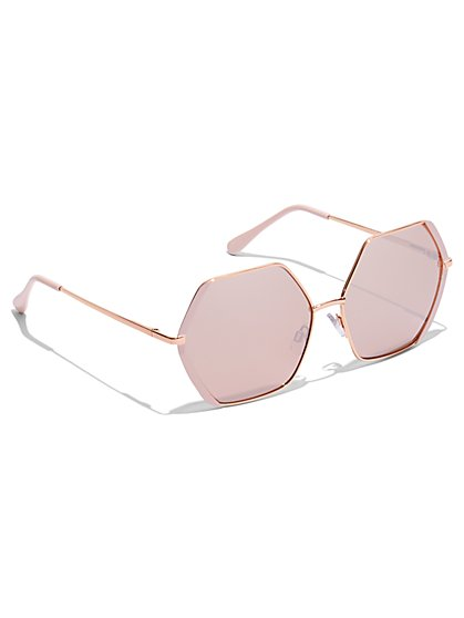 Plus Size Hexagon Shaped Sunglasses - Fashion To Figure
