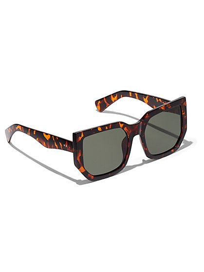 Plus Size Hexagonal Faux-Tortoise Sunglasses - Fashion To Figure
