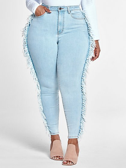 Plus Size High Rise Ankle Length Skinny Jeans with Side Fringe - Fashion To Figure