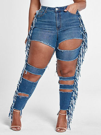 Plus Size High Rise Blowout Skinny Jeans with Fringe Detail - Short Inseam - Fashion To Figure