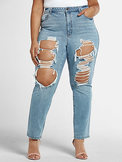 Plus Size High Rise Blowout Straight Leg Jeans - Fashion To Figure