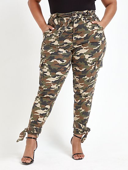 Plus Size High Rise Camo Jogger Pants with Ankle Ties - Fashion To Figure