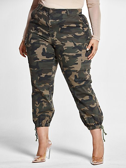Plus Size High Rise Camo Jogger Style Jeans - Fashion To Figure