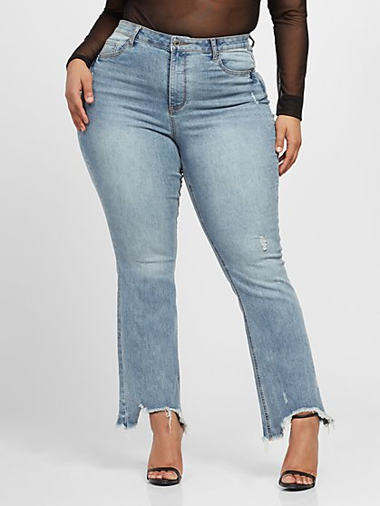 Plus Size High-Rise Chewed Hem Flare Jeans - Fashion To Figure