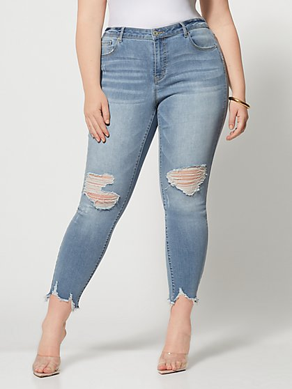 Plus Size High-Rise Chewed Hem Skinny Jeans - Fashion To Figure