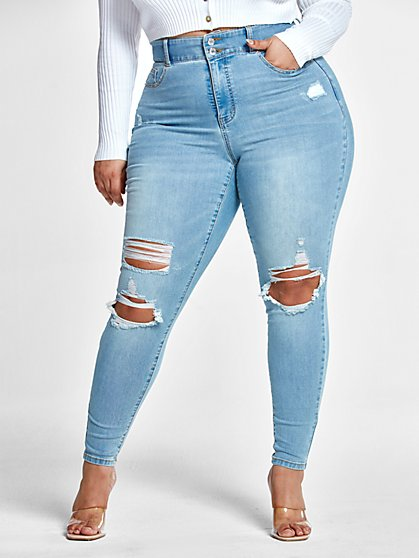 Plus Size High Rise Curvy Fit Skinny Jeans with Blowout Knees - Fashion To Figure