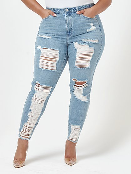 Plus Size High Rise Destructed Straight Leg Jeans - Fashion To Figure