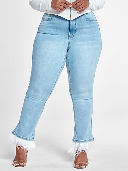 Plus Size High Rise Flare Jeans with Feather Trim - Fashion To Figure