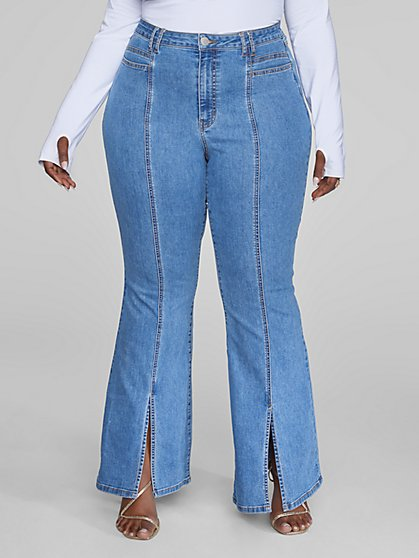 Plus Size High Rise Flare Jeans with Front Slit - Fashion To Figure