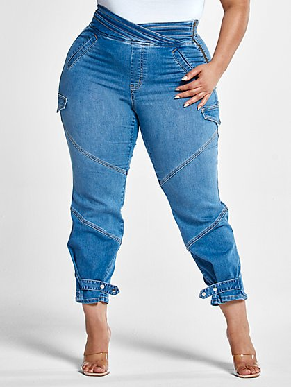 Plus Size High Rise Jogger Style Jeans with Crossover Waist - Fashion To Figure