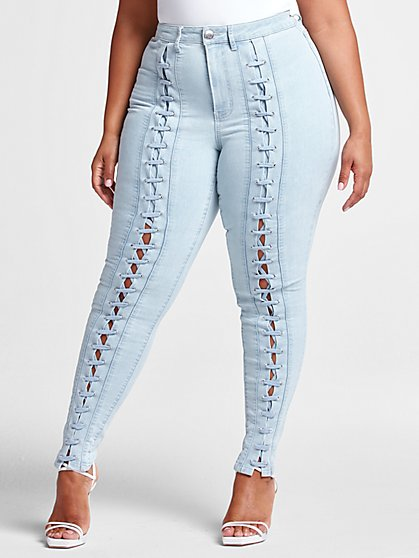 Plus Size High Rise Lace Up Skinny Jean - Short Inseam - Fashion To Figure