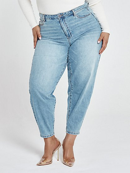 Plus Size High Rise Light Wash Curved Outseam Jeans - Fashion To Figure