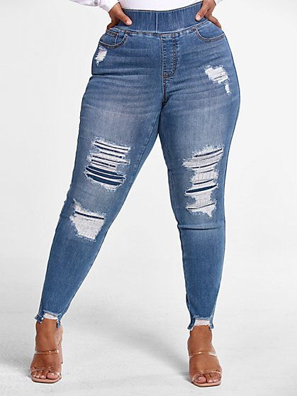 Plus Size High Rise Medium Wash Destructed Jeggings - Fashion To Figure