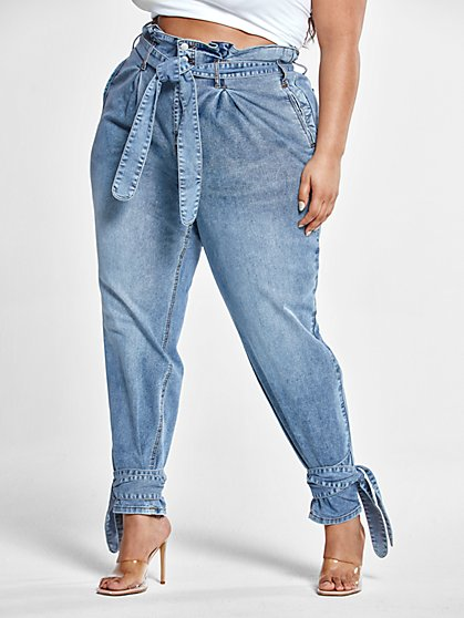 Plus Size High Rise Paperbag Waist Jeans with Ankle Ties - Fashion To Figure