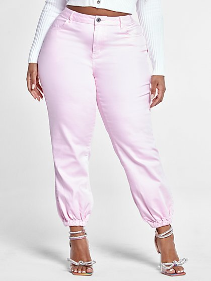 Plus Size High Rise Pink Denim Joggers - Fashion To Figure
